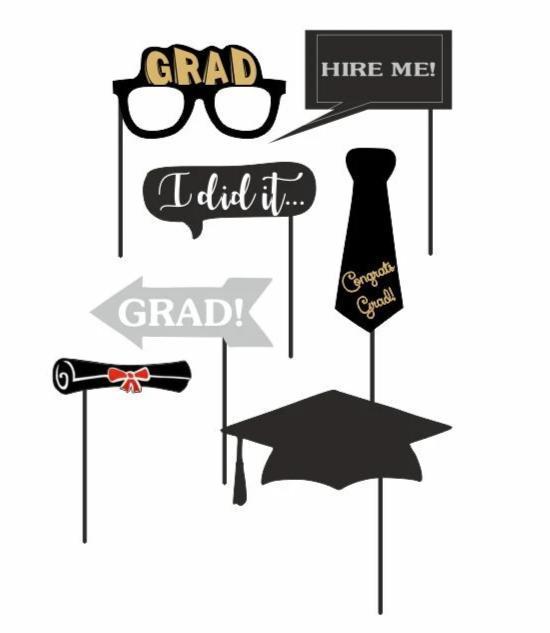 Photo Booth Props Graduation Mix – 7 Τεμάχια