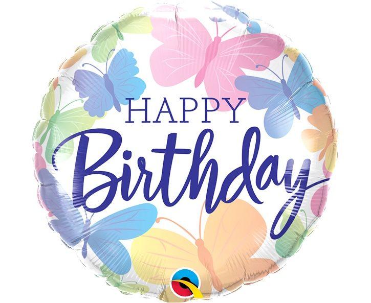 Μπαλόνι Foil Happy Birthday Πεταλούδες 46εκ