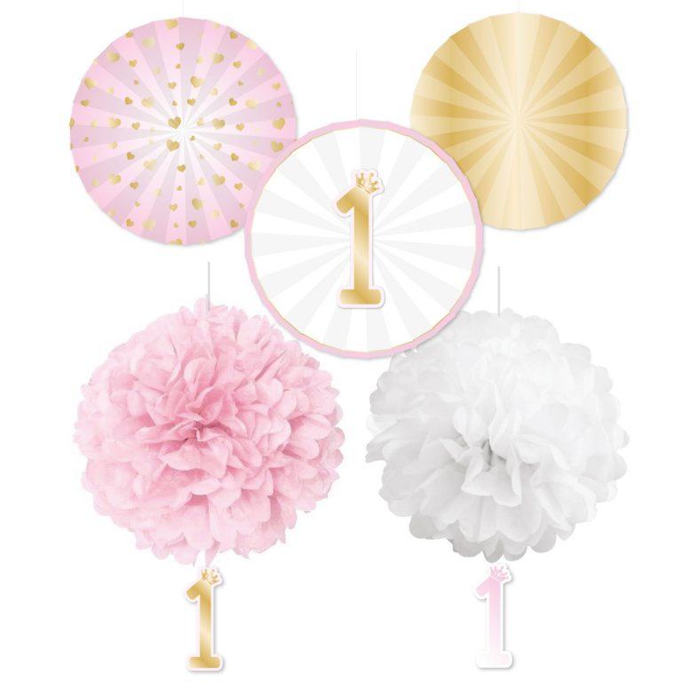 Σετ Διακόσμησης 1st Birthday με Pom Pom & Βεντάλιες Pink Ombre – 5 Τεμάχια