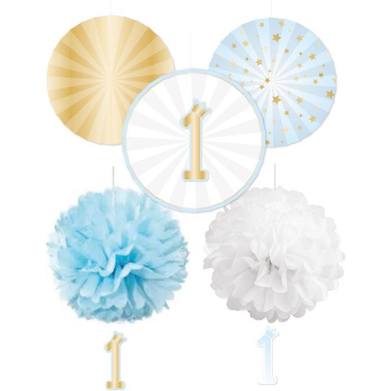 Σετ Διακόσμησης 1st Birthday με Pom Pom & Βεντάλιες Blue Ombre – 5 Τεμάχια