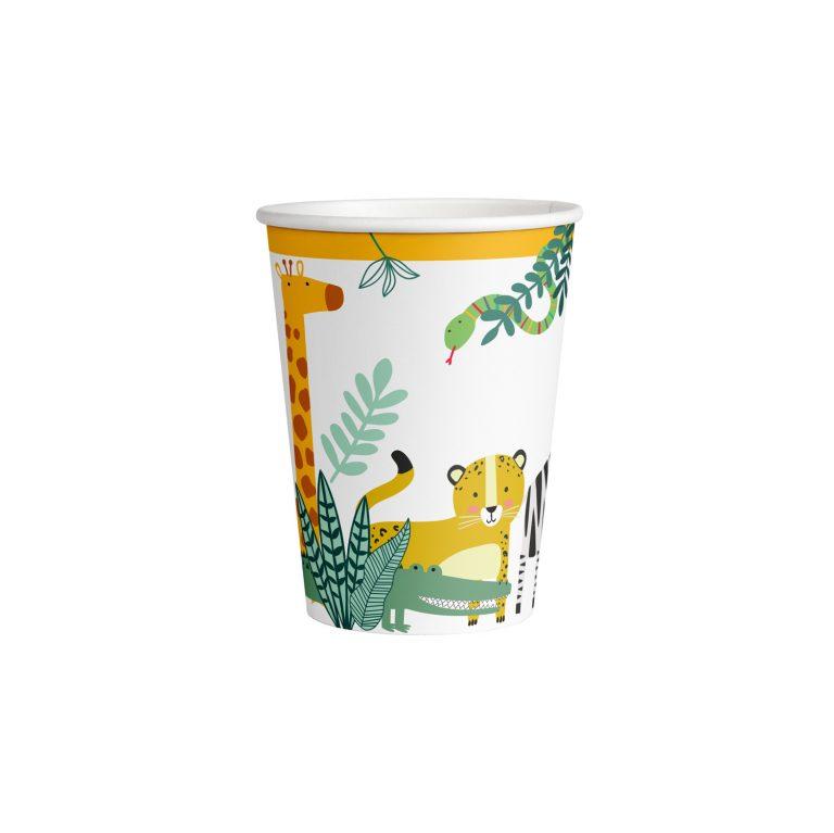 Χάρτινα Ποτήρια Ζωάκια Ζούγκλας 250ml – 8 Τεμάχια