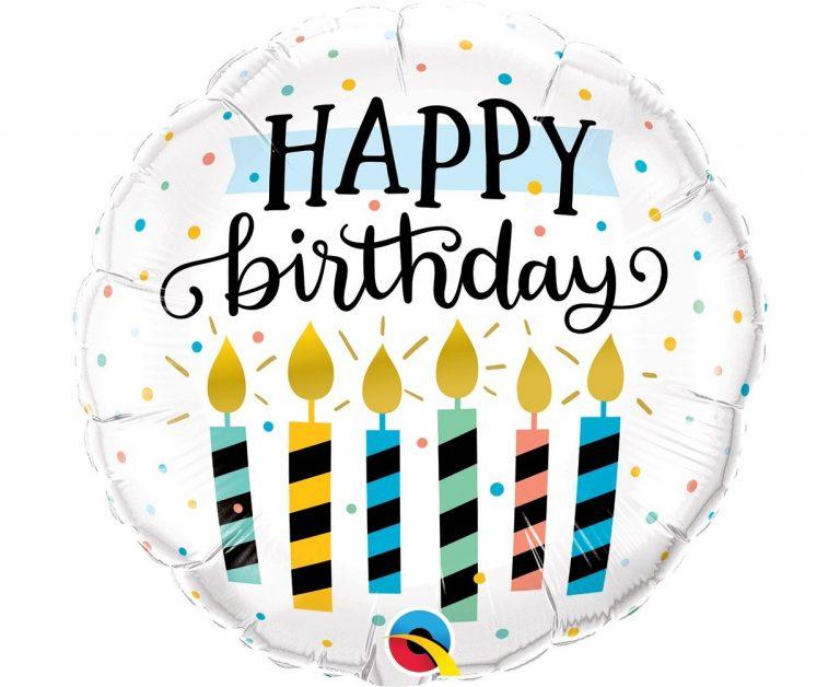 Μπαλόνι Foil Happy Birthday με Πολύχρωμα Κεράκια 46εκ