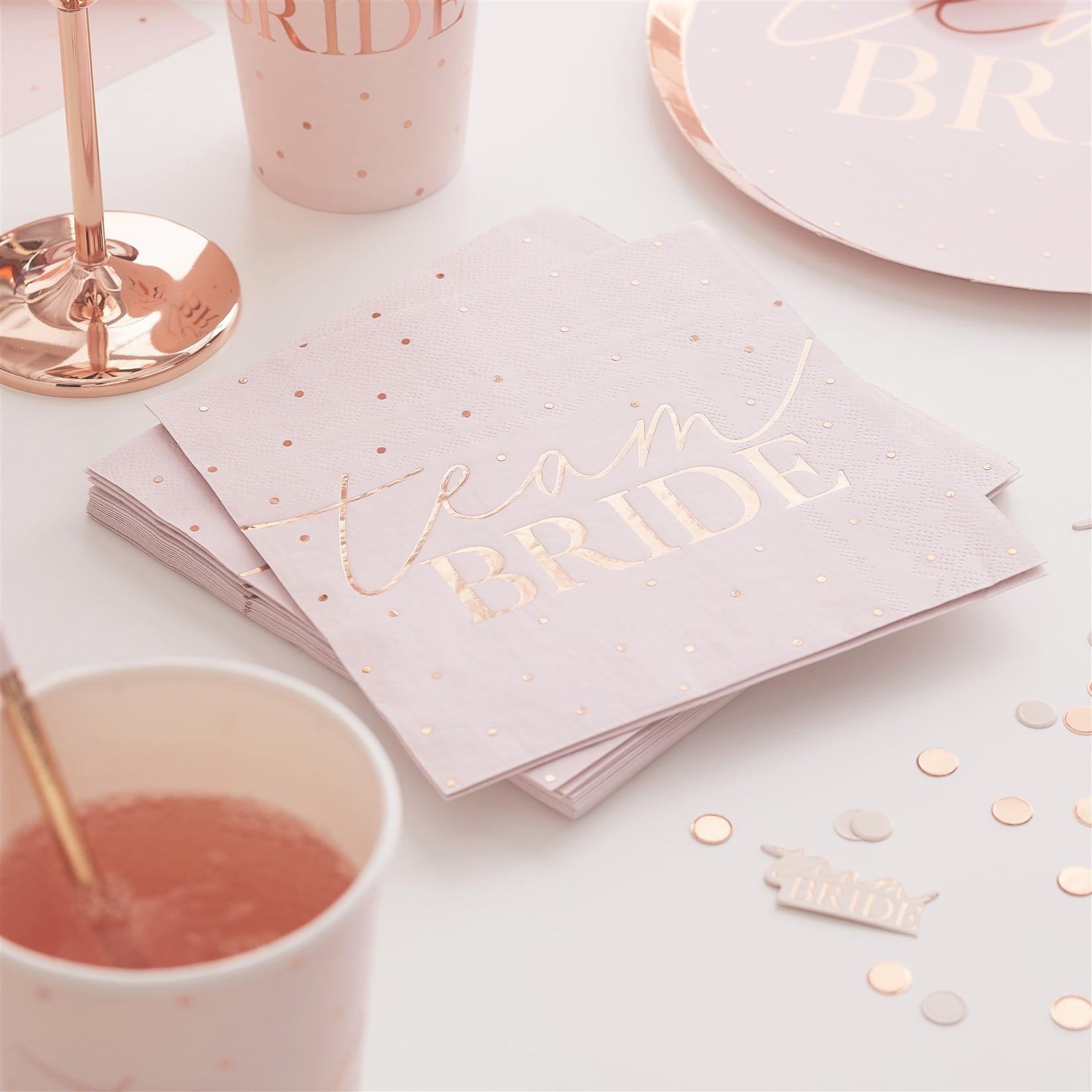Χαρτοπετσέτες Team Bride Ροζ με Πουά Rose Gold – 16 Τεμάχια