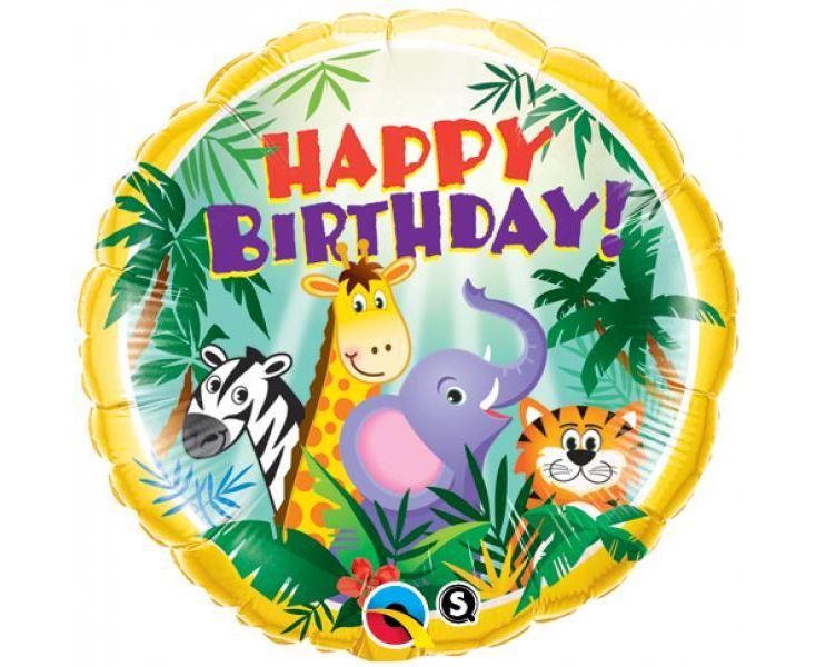 Μπαλόνι Foil Ζωάκια Ζούγκλας Happy Birthday 43εκ