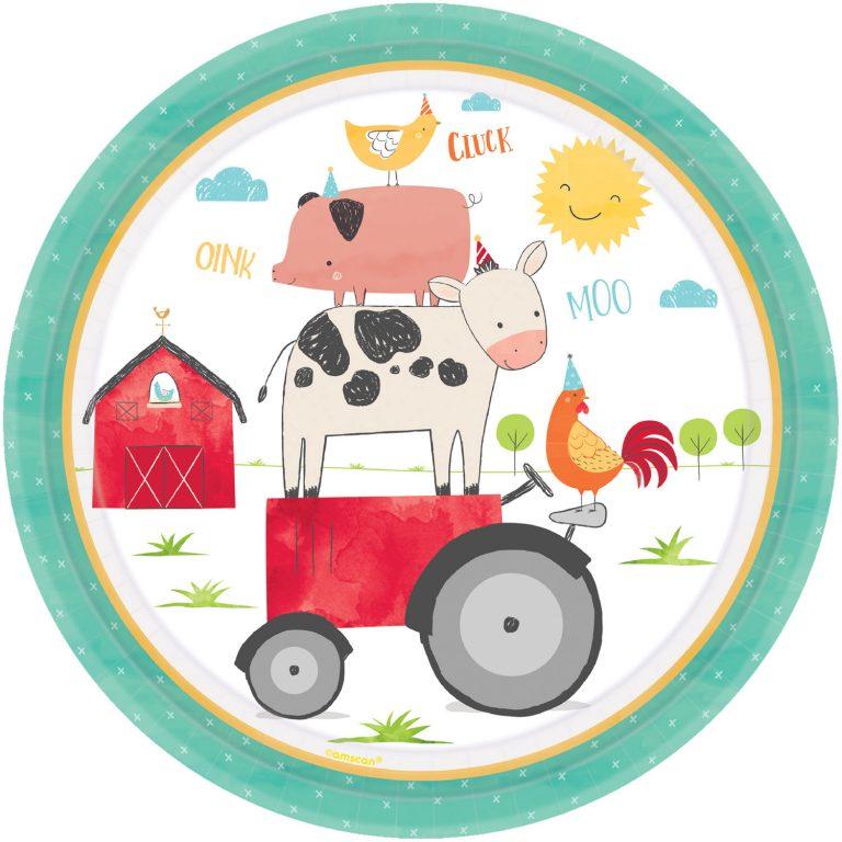 Χάρτινα Πιάτα Ζωάκια Φάρμας Barnyard Birthday – 8 Τεμάχια