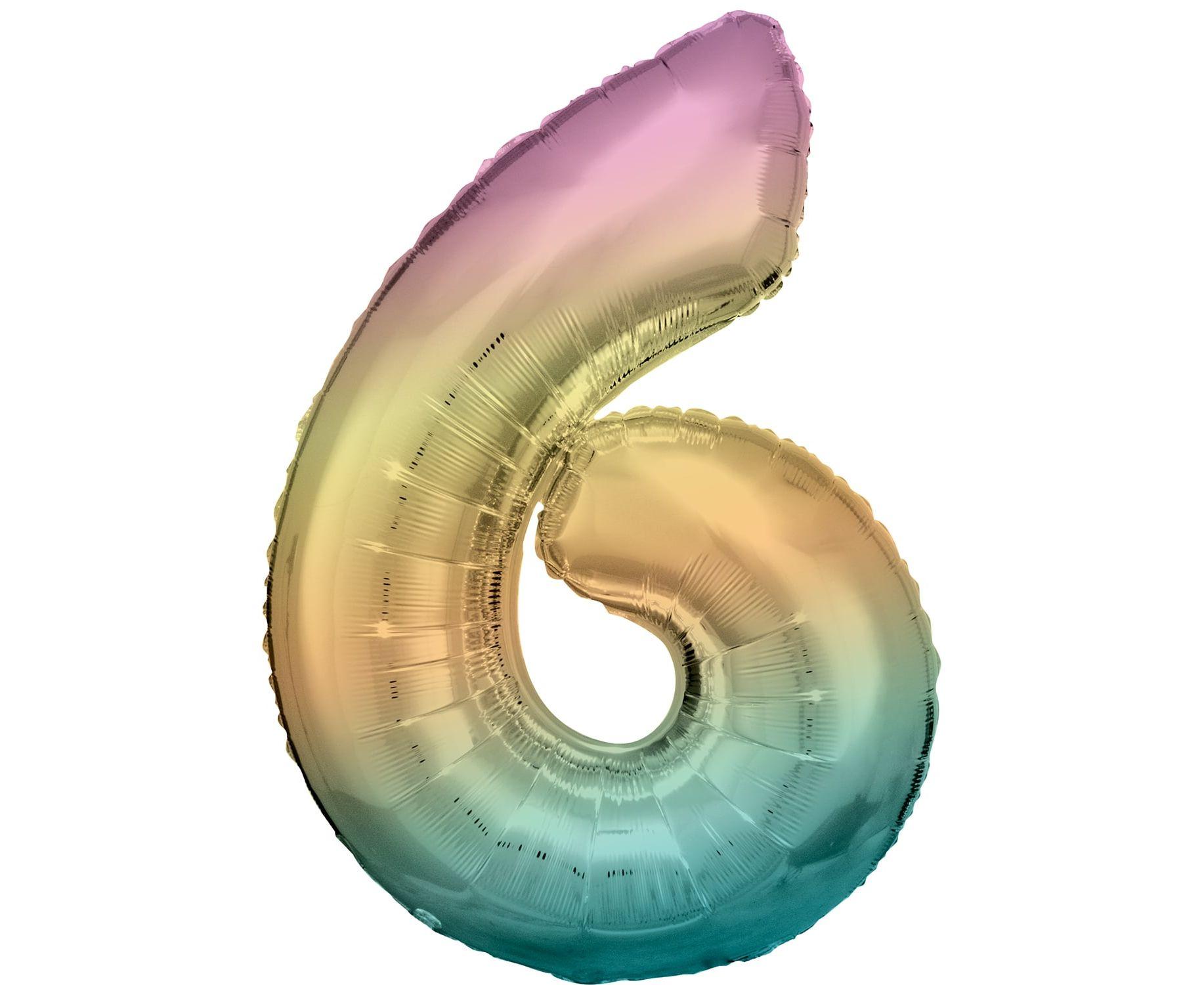 Μπαλόνι Foil Pastel Rainbow Αριθμός Έξι 86εκ