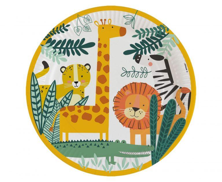Χάρτινα Πιάτα Ζωάκια Ζούγκλας 23εκ Get Wild – 8 Τεμάχια