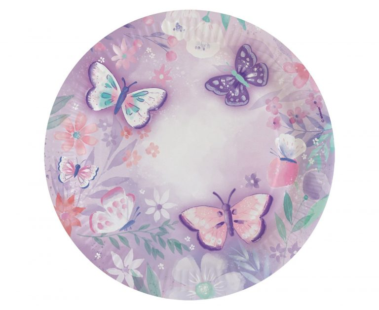 Χάρτινα Πιάτα Πεταλούδες 24εκ – 8 Τεμάχια