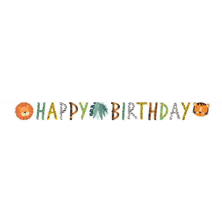 Χάρτινη Γιρλάντα Ζωάκια Ζούγκλας Happy Birthday Get Wild 180 εκ