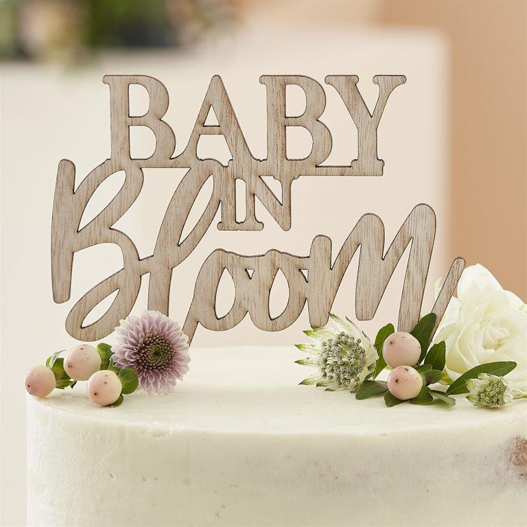 Ξύλινο Διακοσμητικό Τούρτας Baby In Bloom