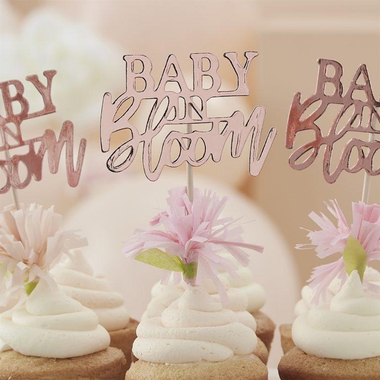 Χάρτινα Διακοσμητικά Στικ Baby In Bloom Με Λουλουδάκια– 12 Τεμάχια