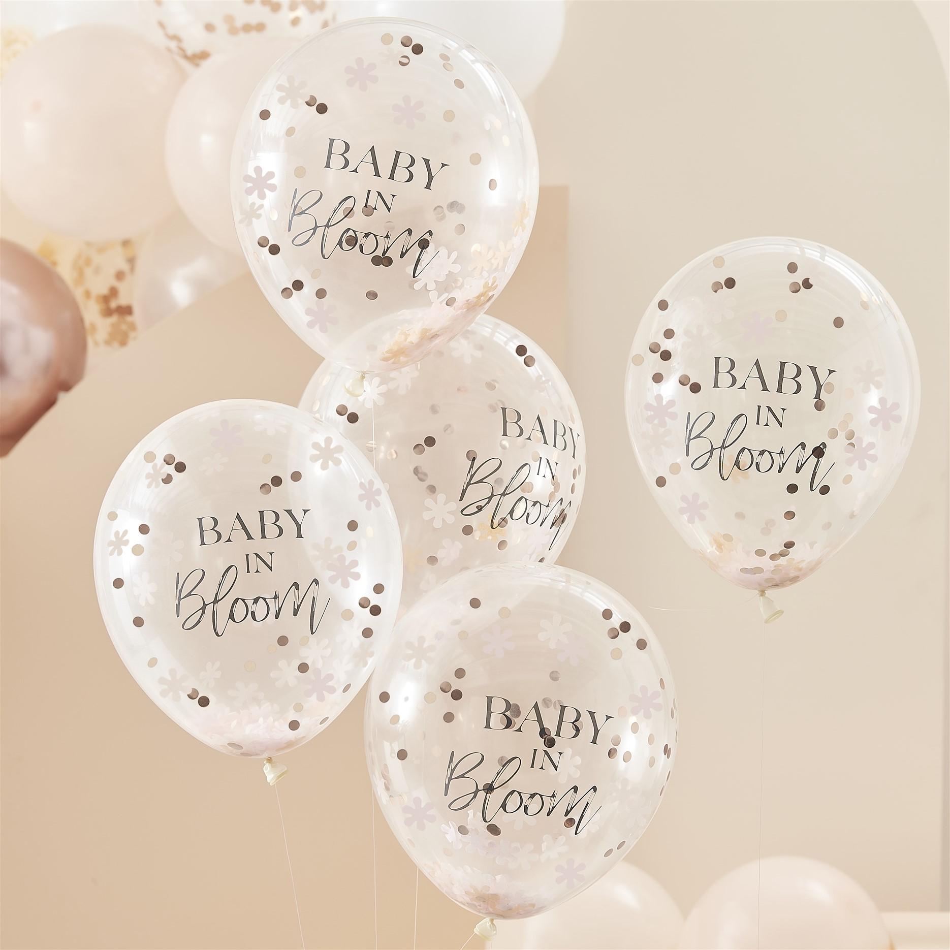 Μπαλόνια Latex Baby In Bloom με Κονφετί  – 5 Τεμάχια