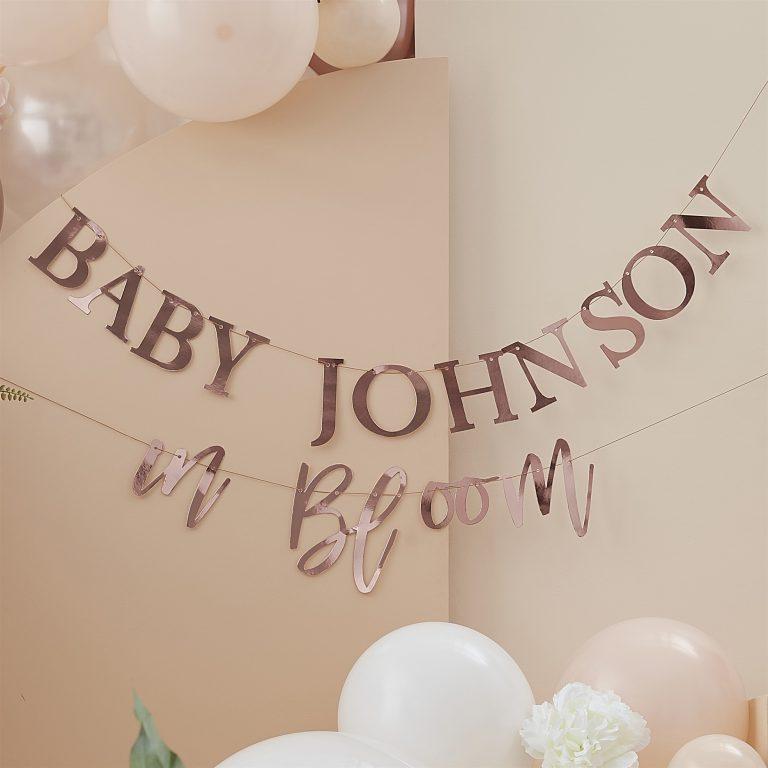 Χάρτινη Γιρλάντα Baby In Bloom Ροζ Χρυσή Προσωποποιημένη