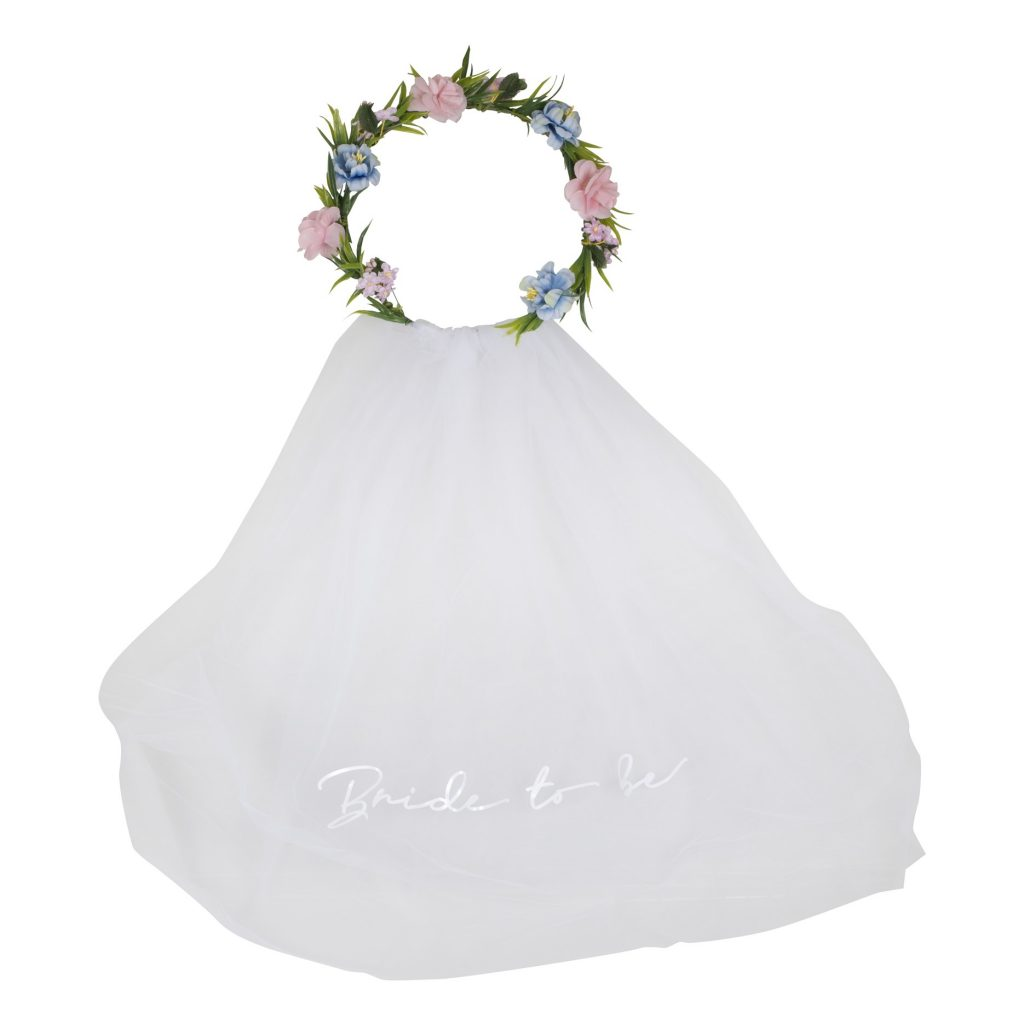 Στεφάνι Λουλουδιών με Πέπλο Bride to Be Boho