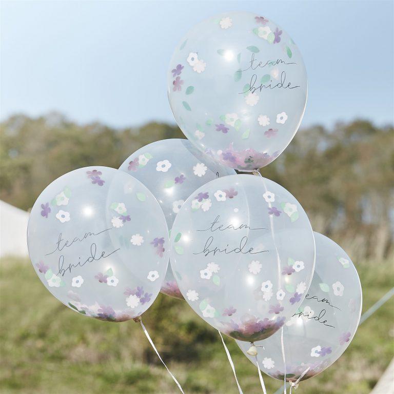 Μπαλόνια Latex Boho Team Bride με Κονφετί – 5 Τεμάχια