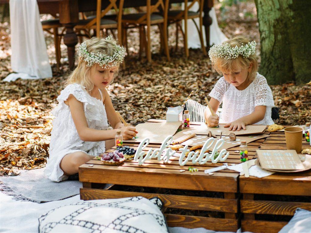 Ξύλινη Eπιγραφή  Kids Table Λευκή