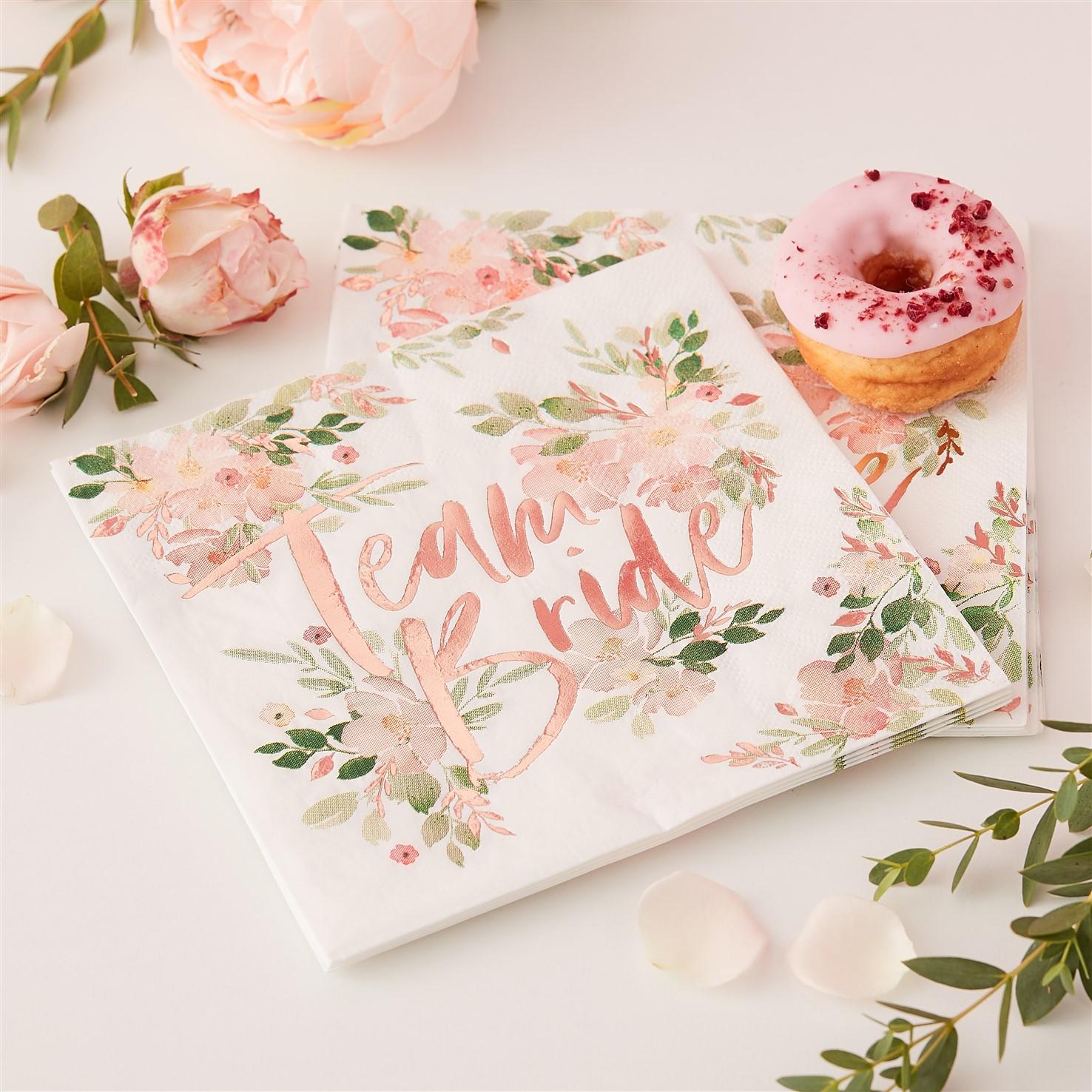Χαρτοπετσέτες Team Bride Floral – 16 Τεμάχια