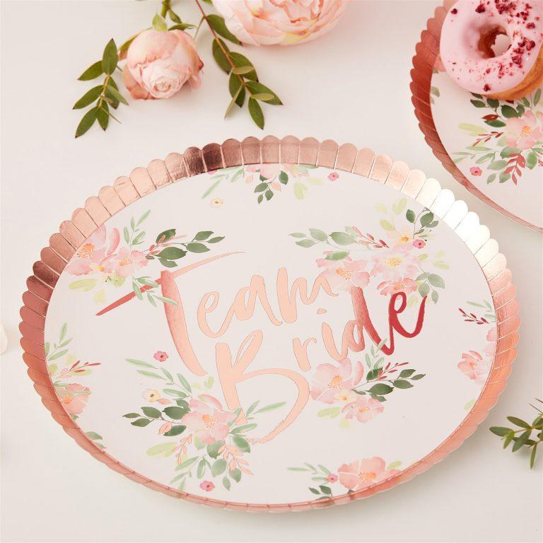 Χάρτινα Πιάτα Team Bride Floral – 8 Τεμάχια