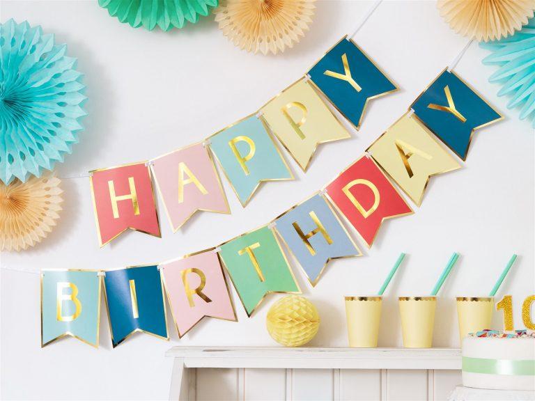Χάρτινη Γιρλάντα Happy Birthday Rainbow