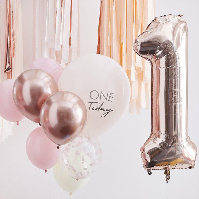 Σετ Μπαλονιών One Today Pink & Rose Gold – 10 Τεμάχια