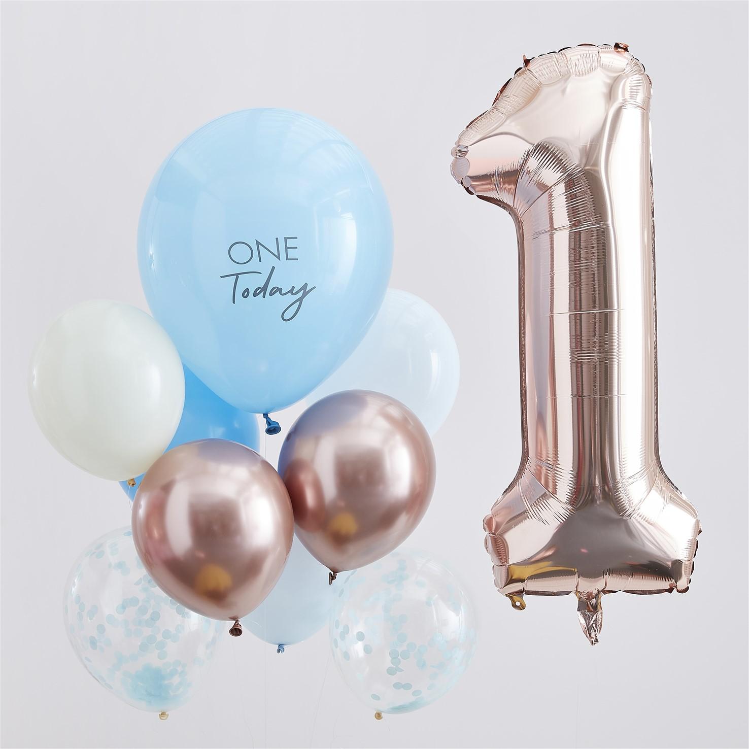 Σετ Μπαλονιών One Today Blue & Rose Gold – 10 Τεμάχια