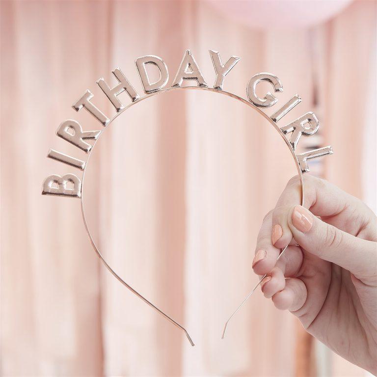 Στέκα Μεταλλική Birthday Girl Ροζ Χρυσή