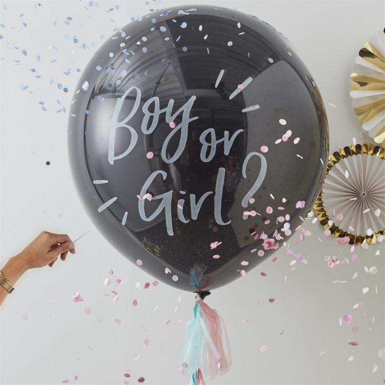 Μπαλόνι Latex Μαύρο Boy Or Girl? – 91εκ
