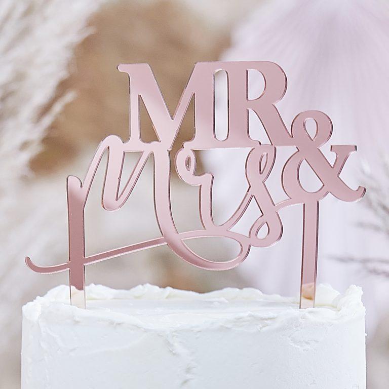 Ακρυλικό Διακοσμητικό Τούρτας Mr & Mrs Ροζ Χρυσό