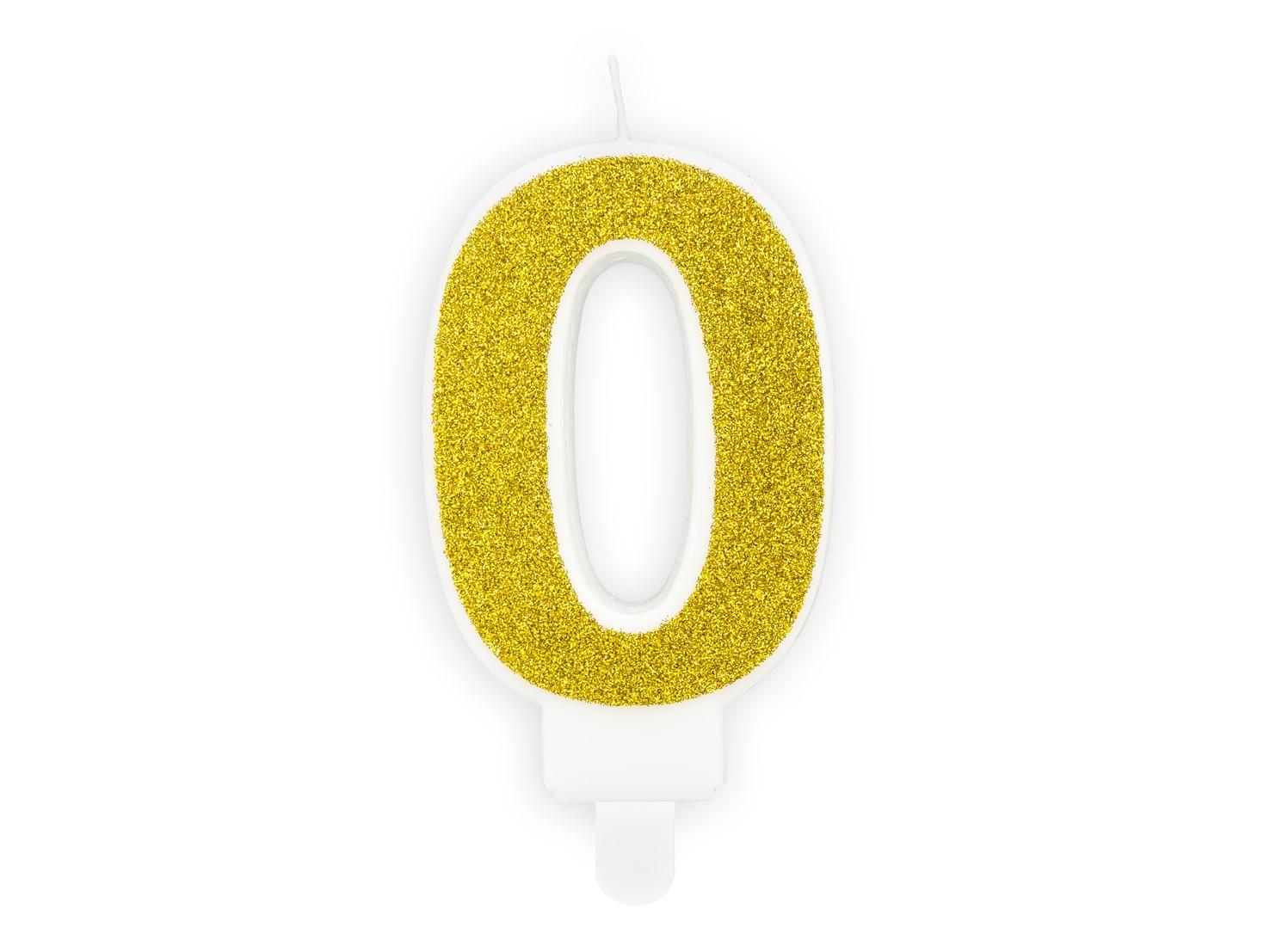 Κεράκι Αριθμός 0 Λευκό με Χρυσό Γκλίτερ