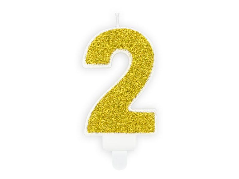 Κεράκι Αριθμός 2 Λευκό με Χρυσό Γκλίτερ
