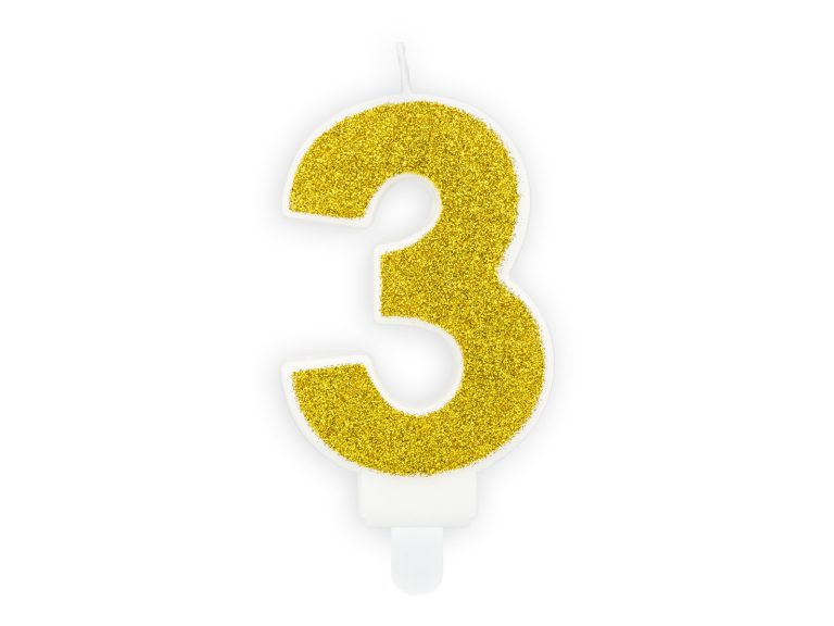 Κεράκι Αριθμός 3 Λευκό με Χρυσό Γκλίτερ