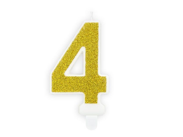 Κεράκι Αριθμός 4 Λευκό με Χρυσό Γκλίτερ