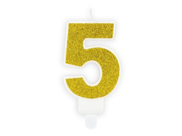 Κεράκι Αριθμός 5 Λευκό με Χρυσό Γκλίτερ