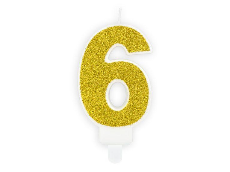 Κεράκι Αριθμός 6 Λευκό με Χρυσό Γκλίτερ