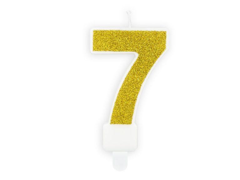 Κεράκι Αριθμός 7 Λευκό με Χρυσό Γκλίτερ