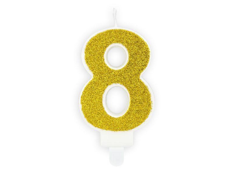 Κεράκι Αριθμός 8 Λευκό με Χρυσό Γκλίτερ
