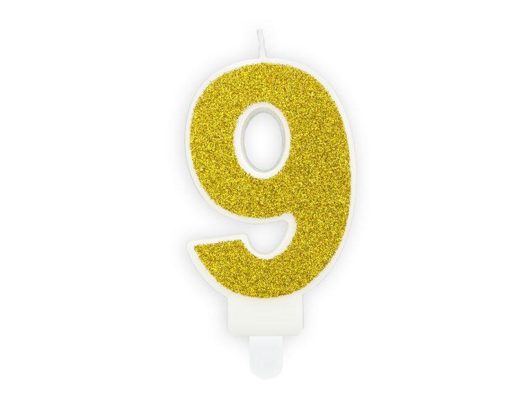 Κεράκι Αριθμός 9 Λευκό με Χρυσό Γκλίτερ