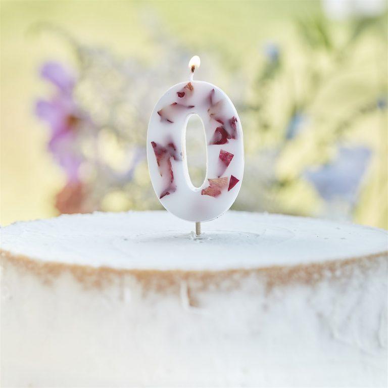 Κεράκι Αριθμός 0 Λευκό με Πέταλα Λουλουδιών