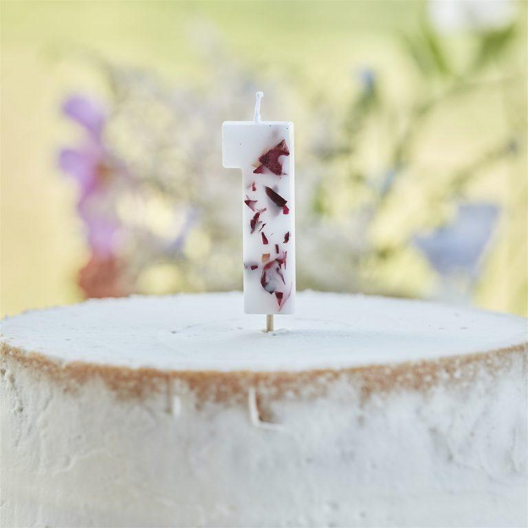Κεράκι Αριθμός 1 Λευκό με Πέταλα Λουλουδιών