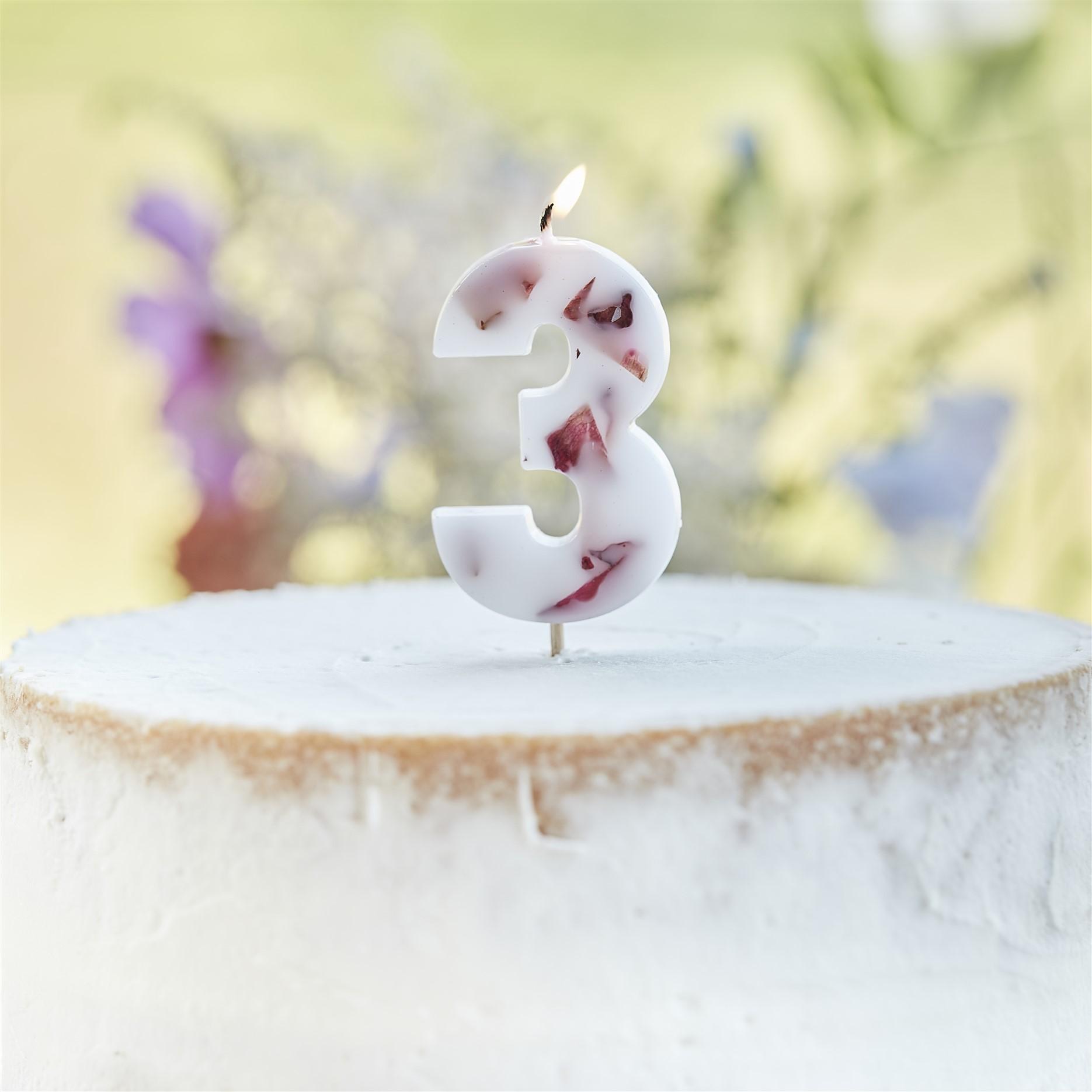 Κεράκι Αριθμός 3 Λευκό με Πέταλα Λουλουδιών