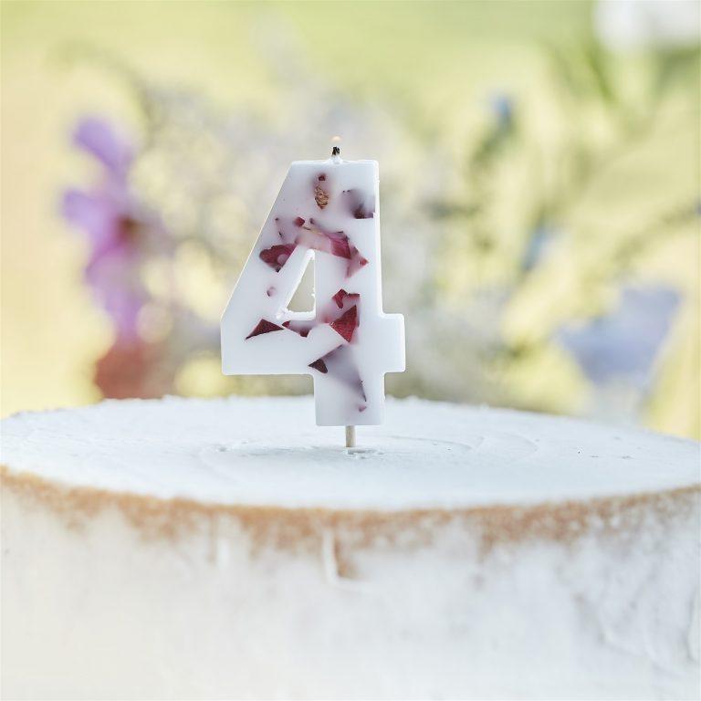 Κεράκι Αριθμός 4 Λευκό με Πέταλα Λουλουδιών