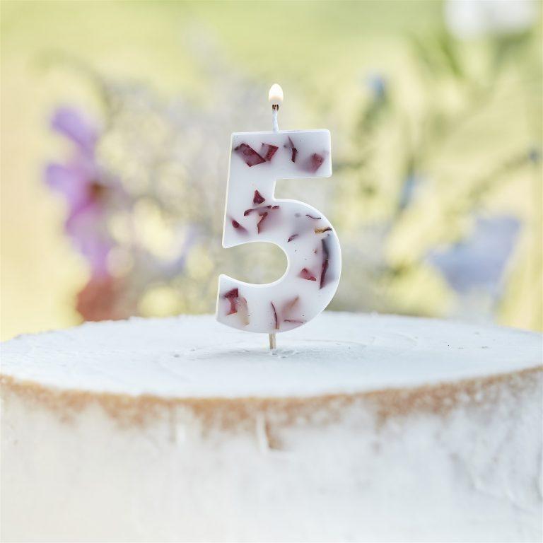 Κεράκι Αριθμός 5 Λευκό με Πέταλα Λουλουδιών
