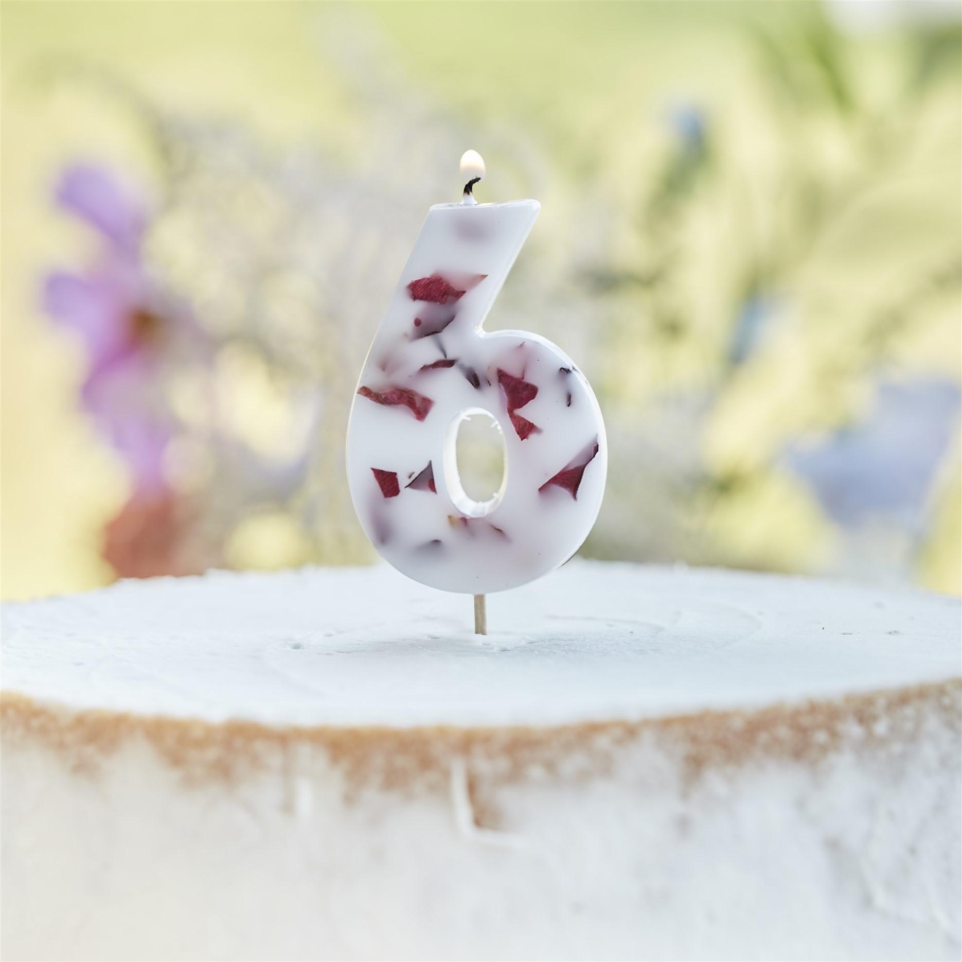 Κεράκι Αριθμός 6 Λευκό με Πέταλα Λουλουδιών