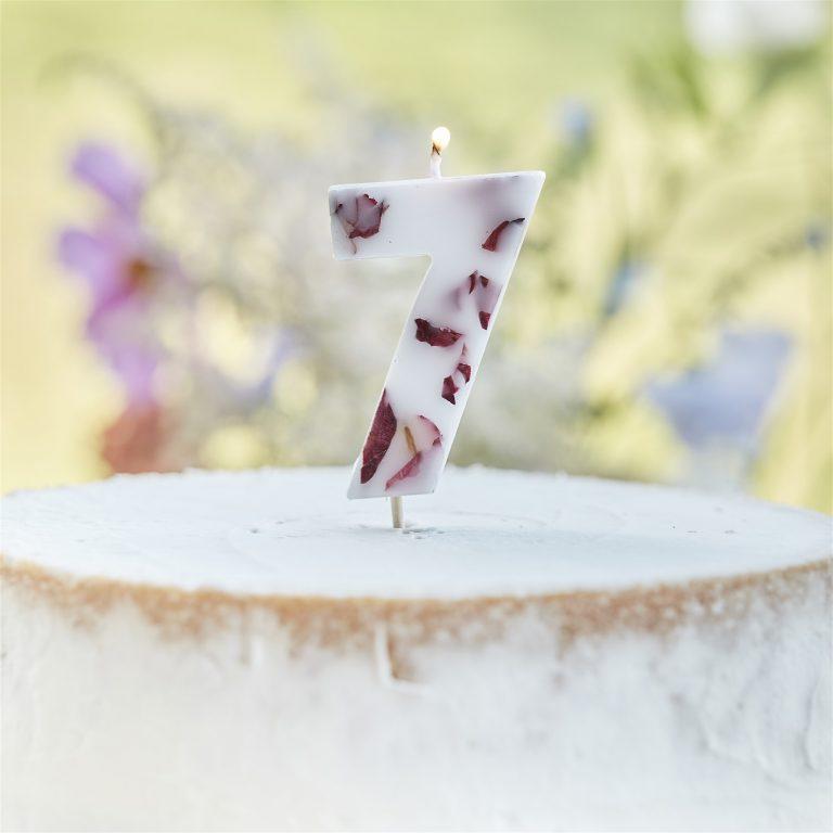 Κεράκι Αριθμός 7 Λευκό με Πέταλα Λουλουδιών
