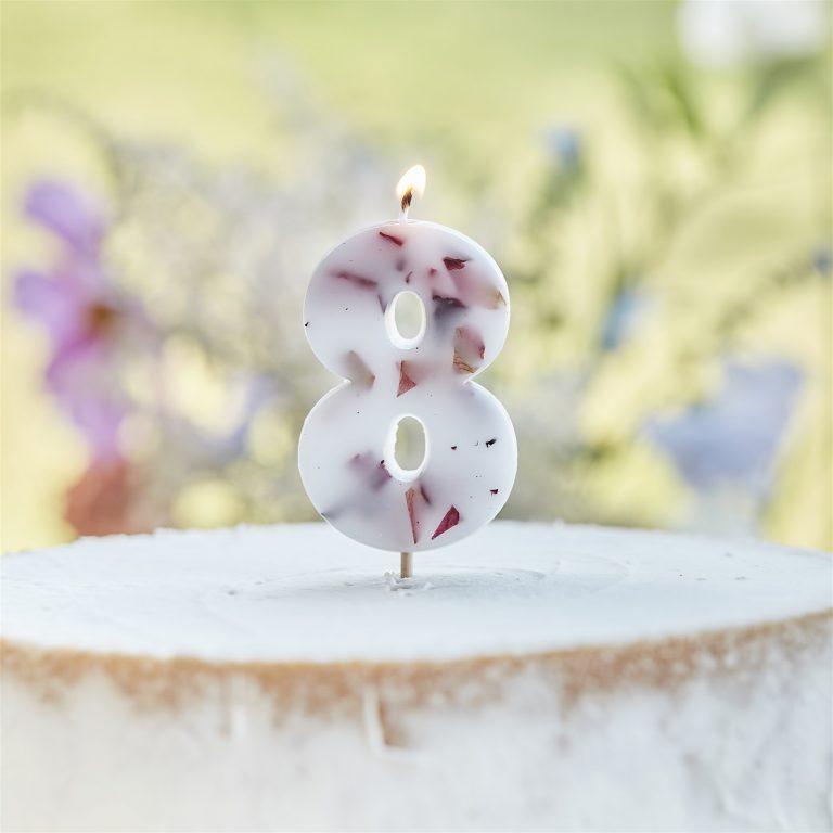 Κεράκι Αριθμός 8 Λευκό με Πέταλα Λουλουδιών