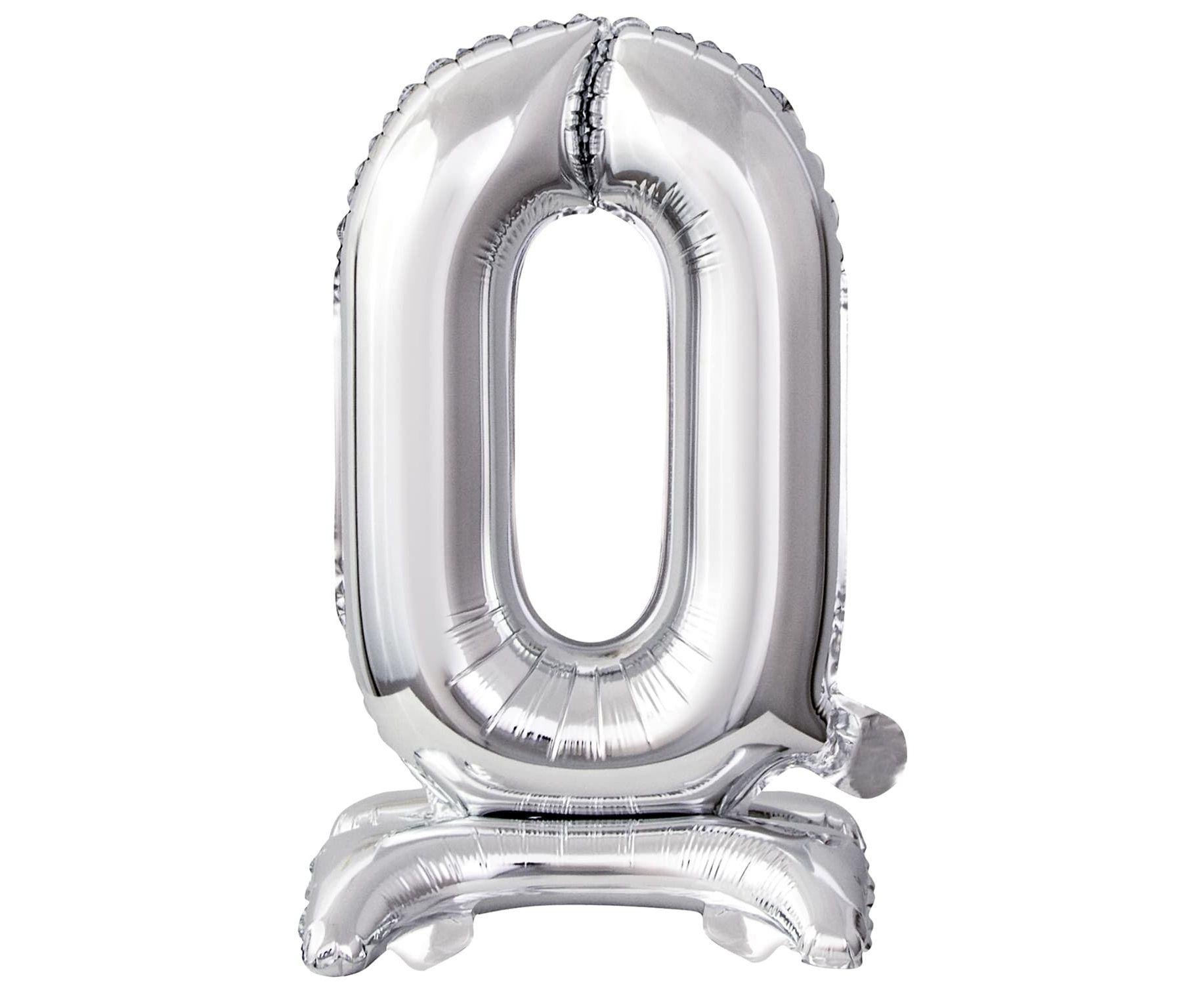 Μπαλόνι Foil Μίνι με Βάση Αριθμός Μηδέν Ασημί 38εκ
