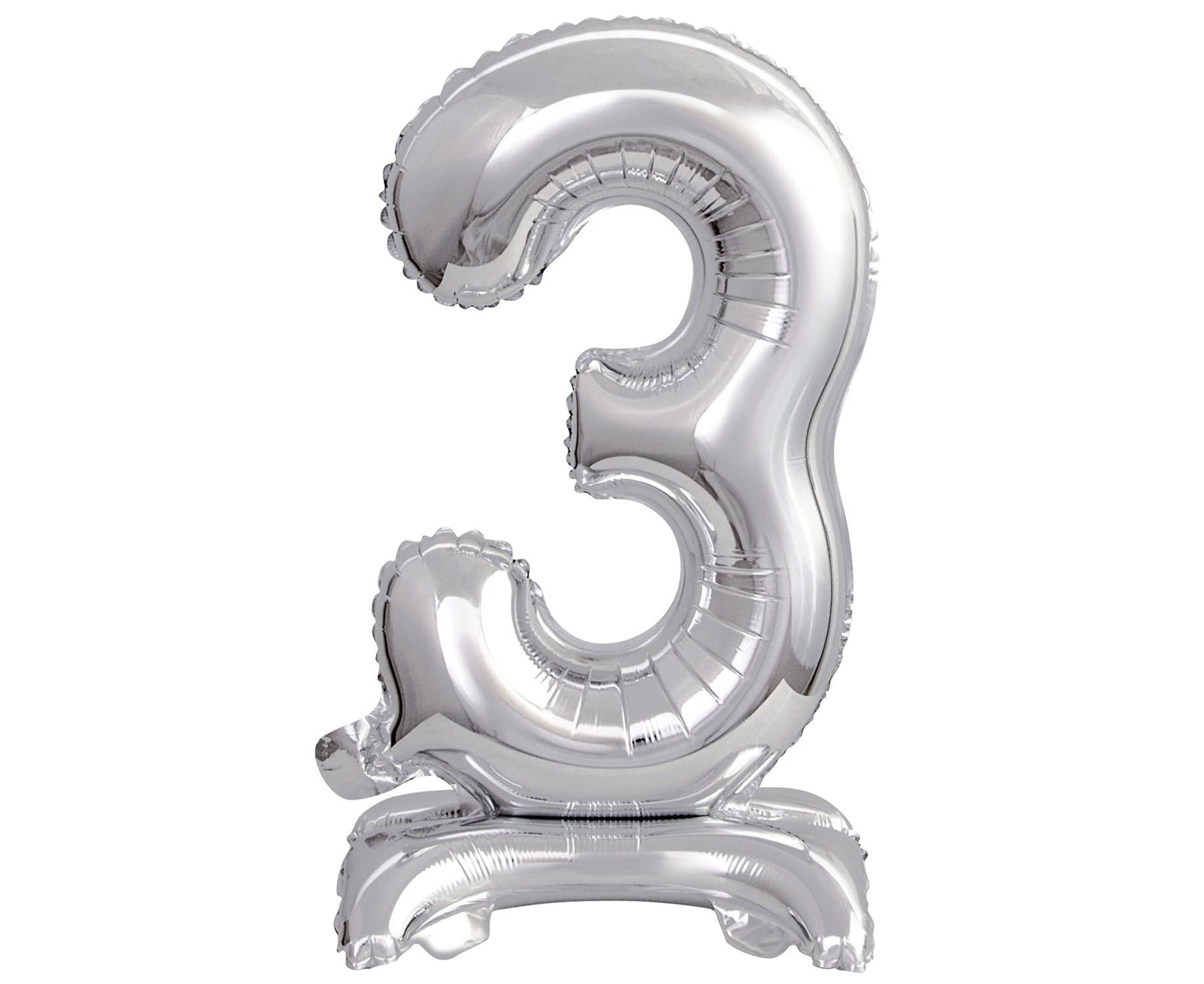 Μπαλόνι Foil Μίνι με Βάση Αριθμός Τρία Ασημί 38εκ