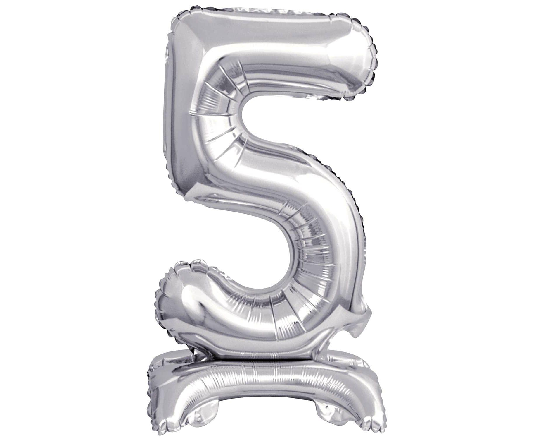 Μπαλόνι Foil Μίνι με Βάση Αριθμός Πέντε Ασημί 38εκ