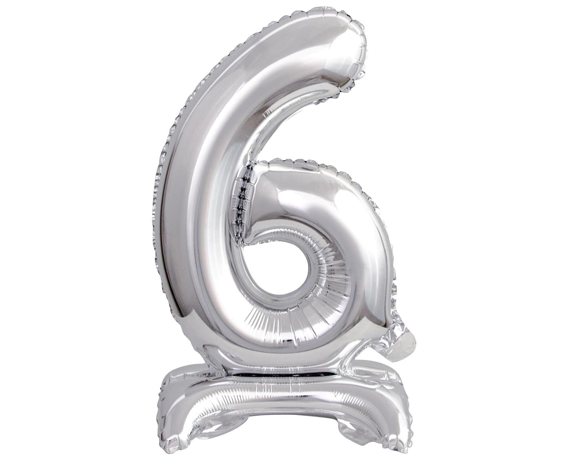 Μπαλόνι Foil Μίνι με Βάση Αριθμός Έξι Ασημί 38εκ