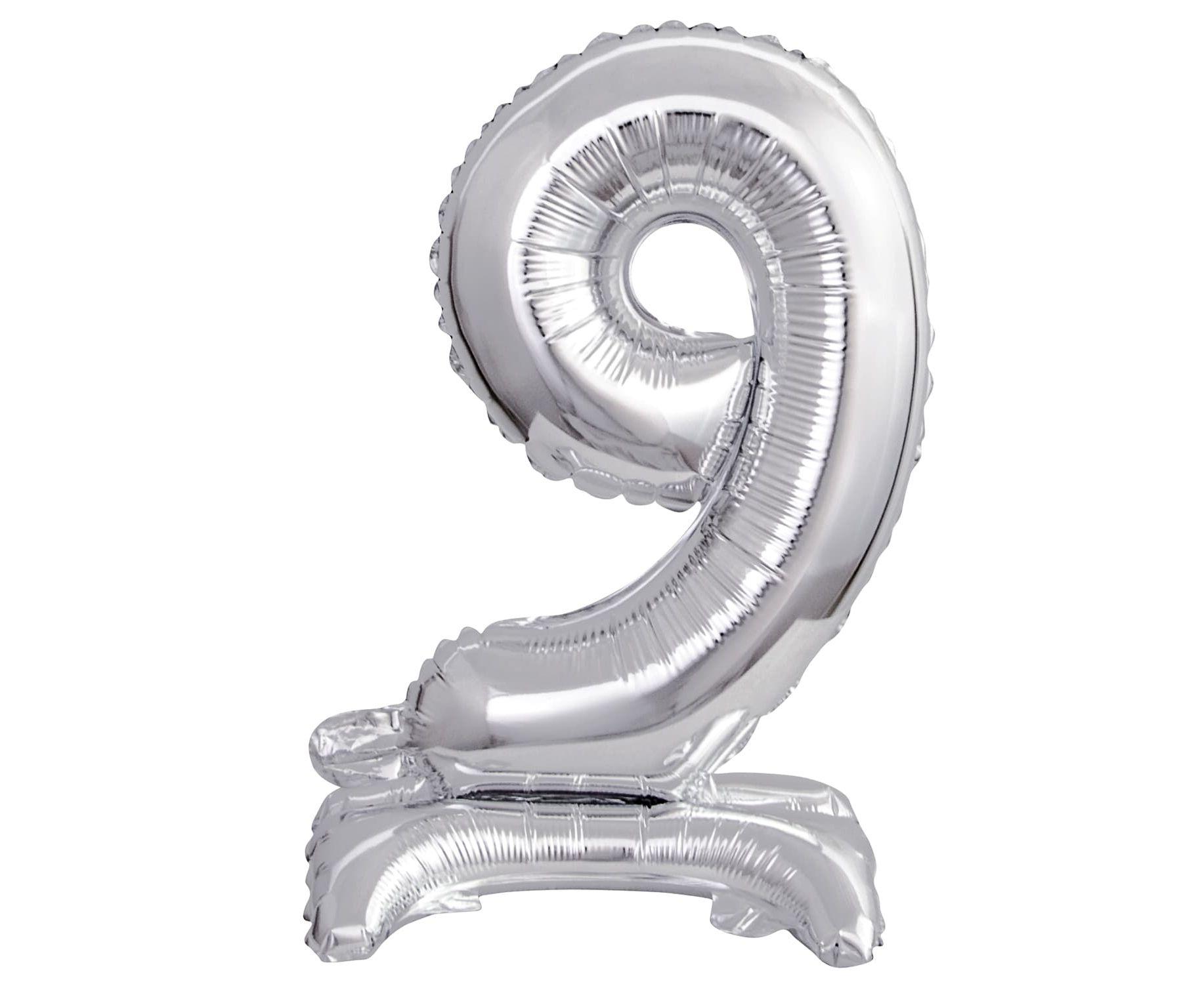 Μπαλόνι Foil Μίνι με Βάση Αριθμός Εννέα Ασημί 38εκ